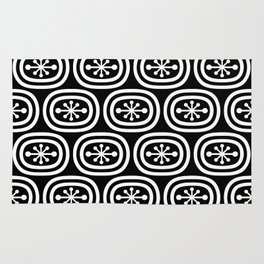 Mid Century Modern Atomic Bands Pattern Black and White 2 Rug