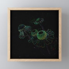 Flowers Black Background Floral Mystical Colors Framed Mini Art Print