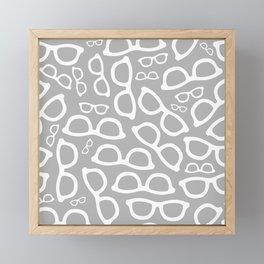 Smart Glasses Pattern - Grey Framed Mini Art Print