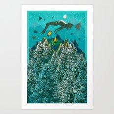 FLOATING FOREST BLUE Art Print