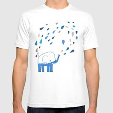 how an elephant showers White MEDIUM Mens Fitted Tee