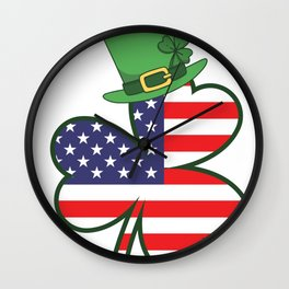 Irish American Flag Ireland Shamrock St Patricks Day Wall Clock