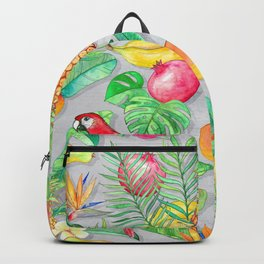 Tropical Paradise Fruit & Parrot Pattern Backpack