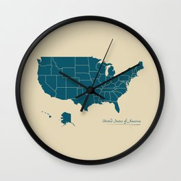 Modern Map - United States of America USA Wall Clock