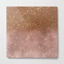 Bronze & Blush Glitter Ombre Metal Print