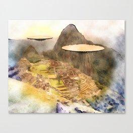 UFO over Machu Picchu Canvas Print