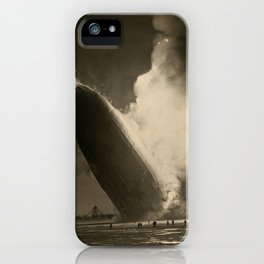 The Hindenburg hits the ground in flames in Lakehurst, N.J. iPhone Case
