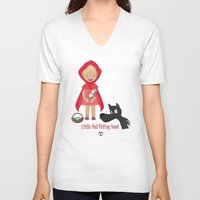 red riding hood V-neck T-shirts featuring Little Red Riding hood by MyimagesArt