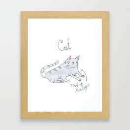 Tired Cat Framed Art Print
