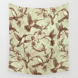Sepia Hummingbird Pattern Wall Tapestry