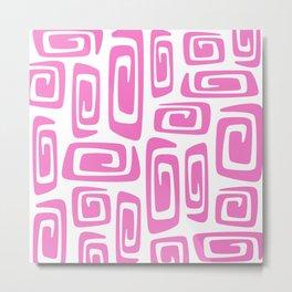 Mid Century Modern Cosmic Abstract 613 Pink Metal Print