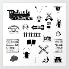 Railroad Symbols on White Art Print