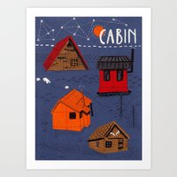 cabin Art Prints featuring CABIN by Bex Bourne