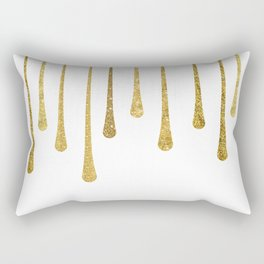 Gold Glitter Paint Drip Rectangular Pillow