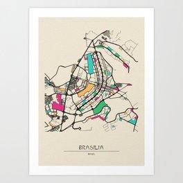 Colorful City Maps: Brasilia, Brazil Art Print