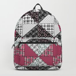 Beautiful red black white patchwork . Backpack