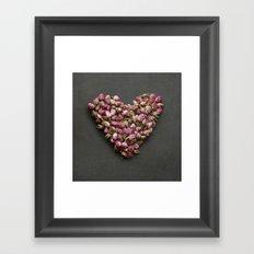 Rose Bud Heart Framed Art Print