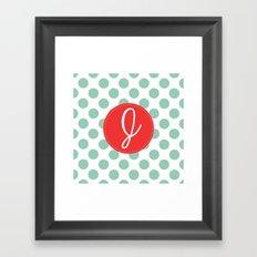 Monogram Initial J Polka Dot Framed Art Print