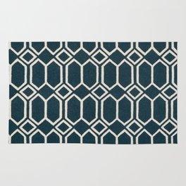 Geometrics in Blue and White Diamonds Rug