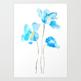 abstract Himalayan poppy flower watercolor Art Print