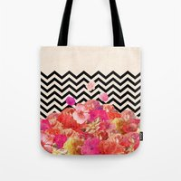 collage Tote Bags featuring Chevron Flora II by Bianca Green