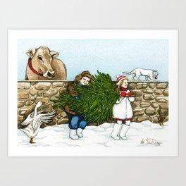 Christmas on a Farm Art Print