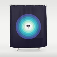 dragonfly Shower Curtains featuring DRAGONFLY by gietoso