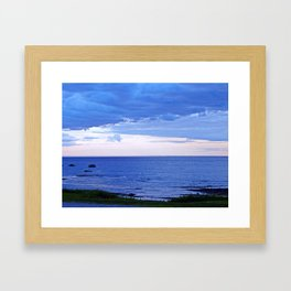 Blue on Blue at the River Mouth Framed Art Print