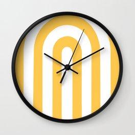 yellow and white retro u stripes Wall Clock