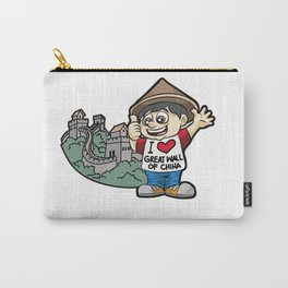 I LOVE GREAT WALL OF CHINA Chinese Fan Vacation Carry-All Pouch