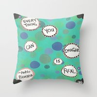 pablo picasso Throw Pillows featuring Pablo Picasso Bubbles by Jenna Elise