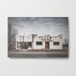Dilapidated Building in the Ghost Town of Valentine, Texas Metal Print