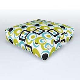 Lime Turq Black White Circles Squares Outdoor Floor Cushion