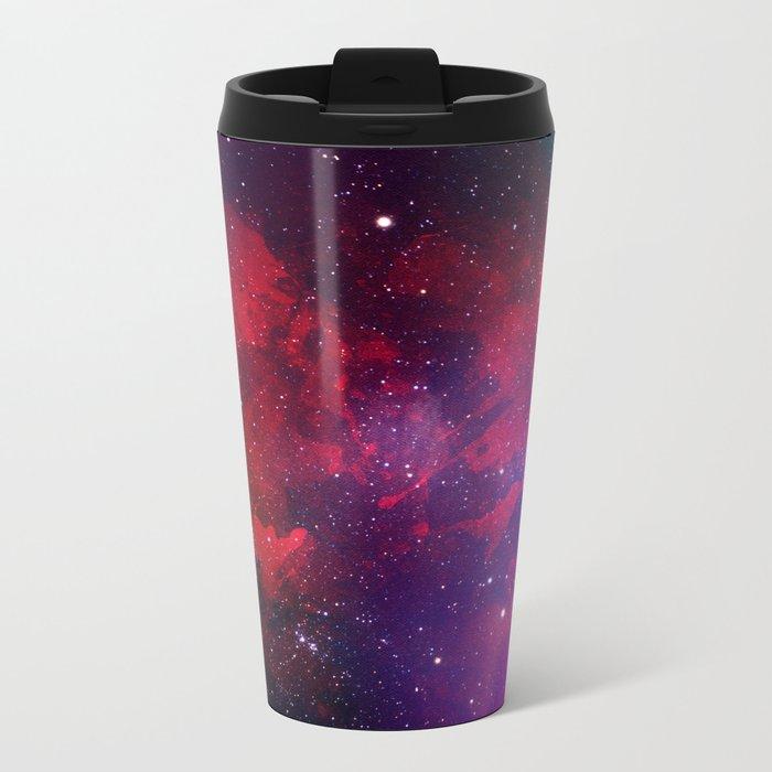Purple & Red Watercolor Space Pattern Travel Mug