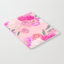 Floral Print Pink Rose Notebook