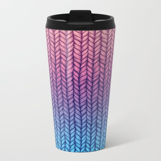 Chunky Knit Pattern in Pink, Blue & Purple Metal Travel Mug