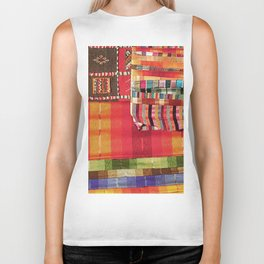 V27 Multi Colored Traditional Moroccan Lovely Textile Texture. Biker Tank