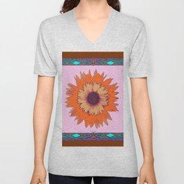 Western Style Chocolate Brown Pink-Orange Sunflower Art Unisex V-Neck