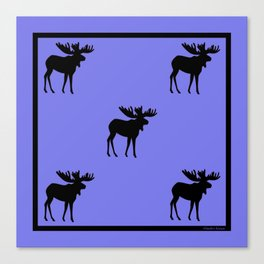 Bull Moose Silhouette on Periwinkle Canvas Print