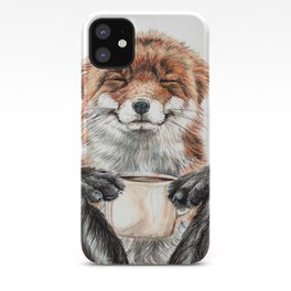 """"""" Morning fox """" Red fox with her morning coffee iPhone Case"""