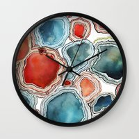 agate Wall Clocks featuring AGATE by Kelsey Eckstrom