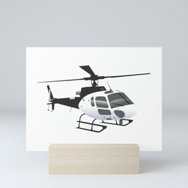 Black and White Helicopter Mini Art Print