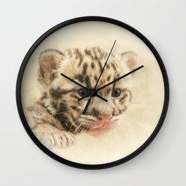 CUTE CLOUDED LEOPARD CUB Wall Clock