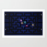 pacman Art Prints featuring Pacman by Foxxya