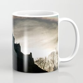 Color photo with a silhouette of a Scottish Castle Coffee Mug