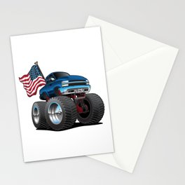 Monster Pickup Truck with USA Flag Cartoon Stationery Cards