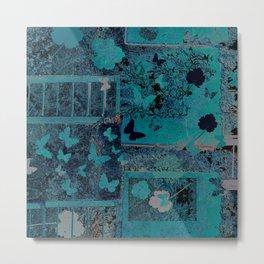 butterflies_I turquoise Metal Print