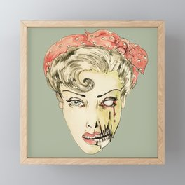 zombie pin-up retro housewife horror rockabilly scarf wearing strong woman Framed Mini Art Print