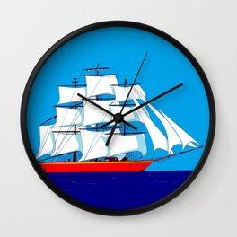 Clipper Ship in Sunny Sky Wall Clock