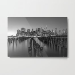Brooklyn Waterfront in Black and White Metal Print